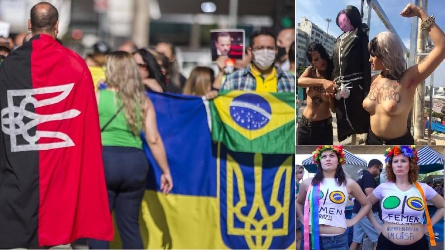 """Bandeira de partido neonazista da Ucrânia na manifestação de bolsonaristas em São Paulo; no canto superior esquerdo, Sara Winter quando cortava o pênis de boneco de Bolsonaro; abaixo dela, Cara Zambelli, também do """"Femen"""". Agora, são mulheres de família. Da família Bolsonaro - Marlene Bergamo/Folhapress; Gabril Barreira;"""