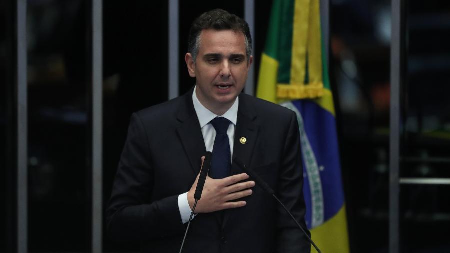 Presidente do Senado, Rodrigo Pacheco (DEM-MG) discursa na tribuna - GABRIELA BILó/ESTADÃO CONTEÚDO