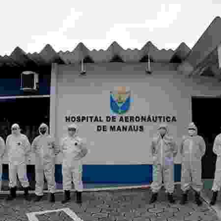Militares fazem descontaminação no Hospital de Aeronáutica de Manaus - Divulgação - Divulgação