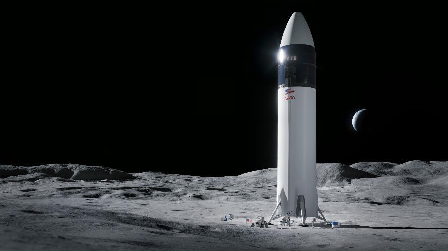 Ilustração de foguete da SpaceX na Lua em missão que levará astronautas novamente ao nosso satélite natural - SpaceX