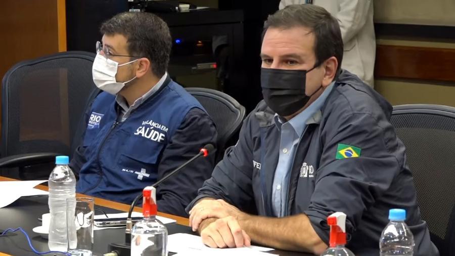 Prefeito Eduardo Paes e secretário Municipal de Saúde do Rio, Daniel Soranz; Rio autoriza eventos de até 500 pessoas em locais abertos - Reprodução/Youtube