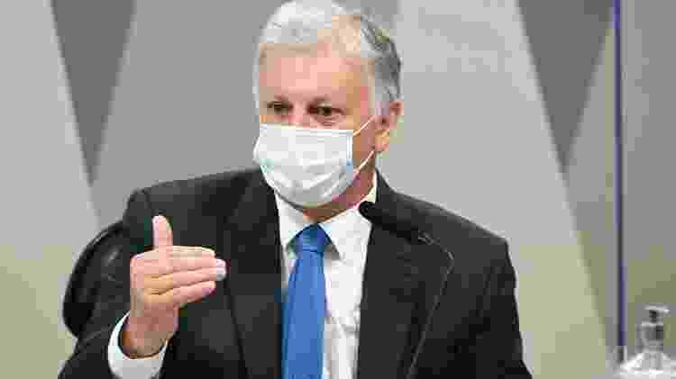O ex-assessor especial do Ministério da Saúde Airton Soligo, conhecido como Airton Cascavel, na CPI da Covid - Jefferson Rudy/Agência Senado - Jefferson Rudy/Agência Senado
