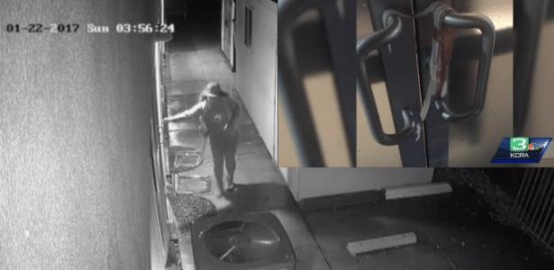 Câmera de segurança flagra suspeita (esq.) colocando bacon nas maçanetas (detalhe)