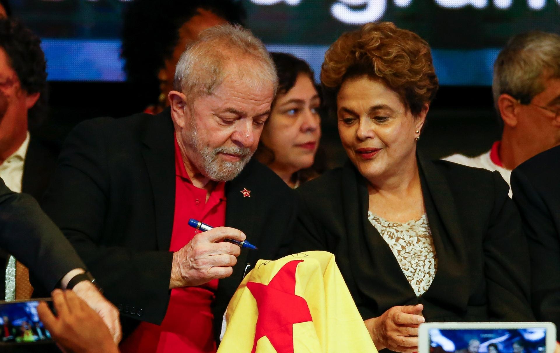 1.jun.2017 - Lula e Dilma durante abertura do Congresso Nacional do PT, em Brasília
