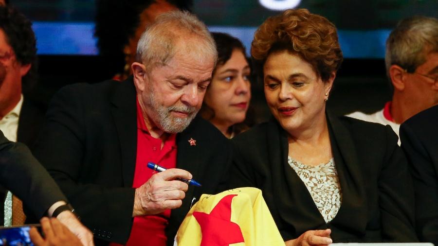1.jun.2017 - Lula e Dilma durante abertura do Congresso Nacional do PT, em Brasília - Pedro Ladeira/Folhapress