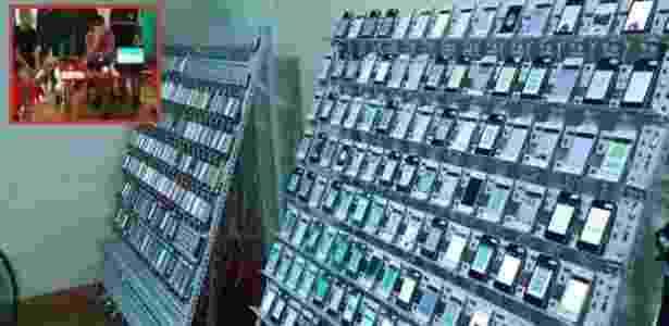 Quadro com vários celulares conectados à internet servia para impulsionar cliques - Reprodução/Bangkokpost