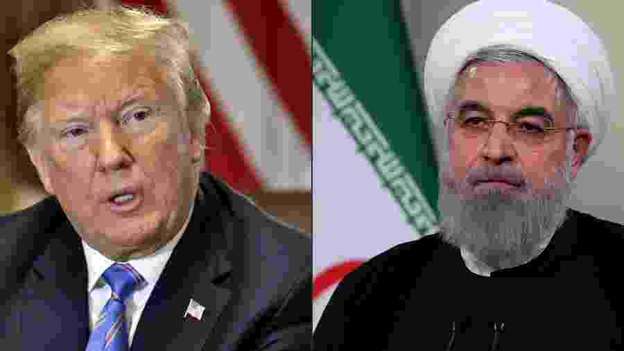 Montagem com o presidente dos EUA Donald Trump e o do Irã, Hassan Rouhani - Montagem com AFP Photo e Presidência do Irã