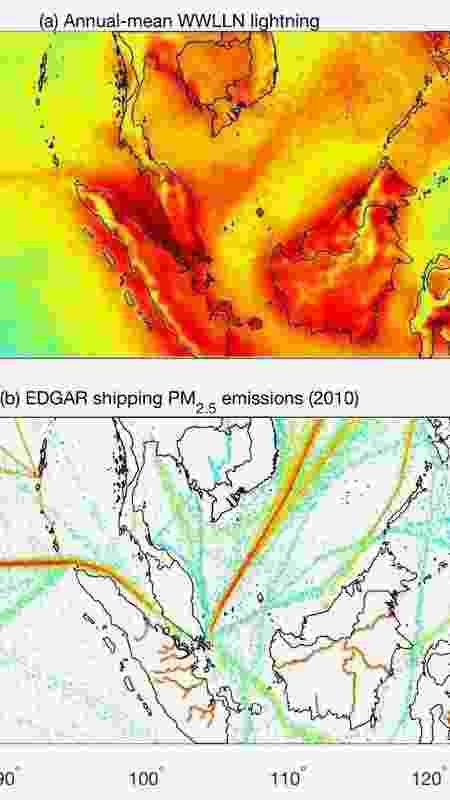 Gráfico mostra comparação entre quedas de raios e rotas de navios - American Geophysical Union