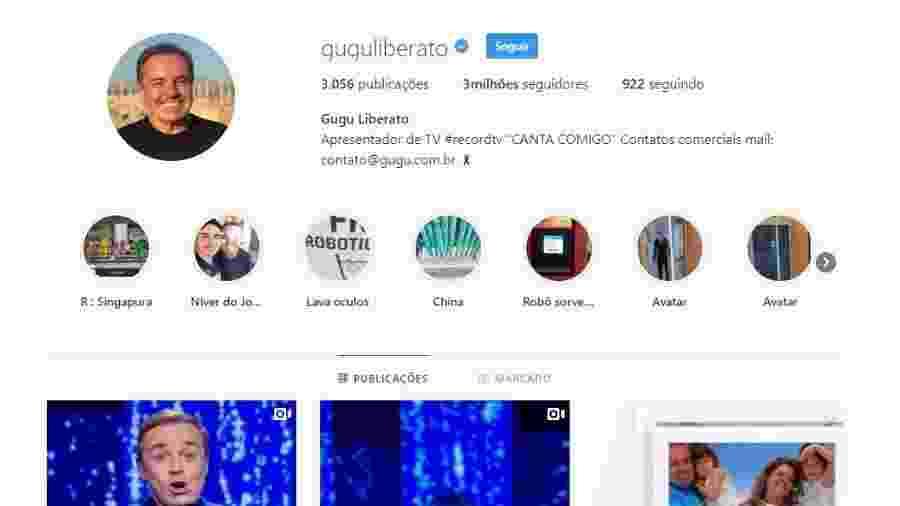 O Instagram de Gugu Liberato ganhou mais de 1 milhão de seguidores desde o anúncio do acidente com o apresentador - Reprodução / Internet