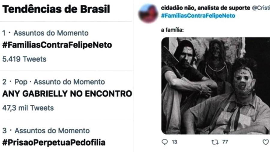 Protesto contra YouTuber Felipe Neto ficou entre os assuntos mais comentados, mas muitas mensagens o defendiam - Twitter