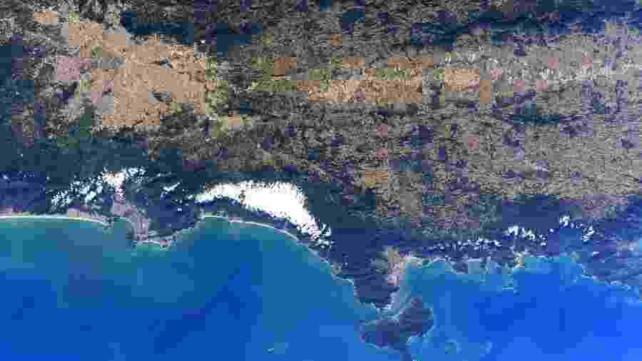 Parte do Estado de São Paulo em foto tirada da Estação Espacial Internacional (ISS) - Reprodução/Twitter @Astro_SEAL