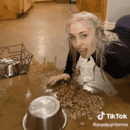 """No TikTok, Jenna atua como um cachorro comendo (e bagunçando), brincando de """"pega"""" e mais - Reprodução/TikTok - Reprodução/TikTok"""