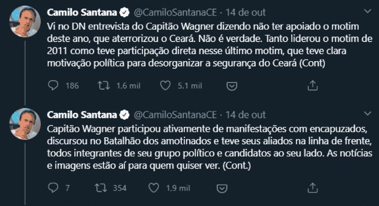 img1 - Captura de tela feita em 22 de outubro, do perfil https://twitter.com/CamiloSantanaCE - Captura de tela feita em 22 de outubro, do perfil https://twitter.com/CamiloSantanaCE