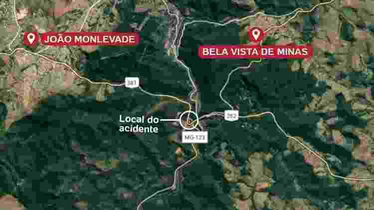 Mapa mostra local onde ônibus caiu de viaduto no interior de Minas - Reprodução/Google Arte/UOL - Reprodução/Google Arte/UOL