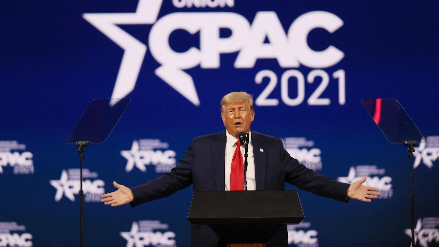 Trump fez seu primeiro discurso hoje, após deixar a Casa Branca há pouco mais de um mês - Joe Raedle/Getty Images via AFP