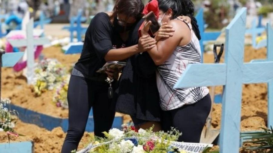 Enterro de vítima de covid-19 em Manaus, em 17 de fevereiro; país supera 250 mil mortes - Reuters