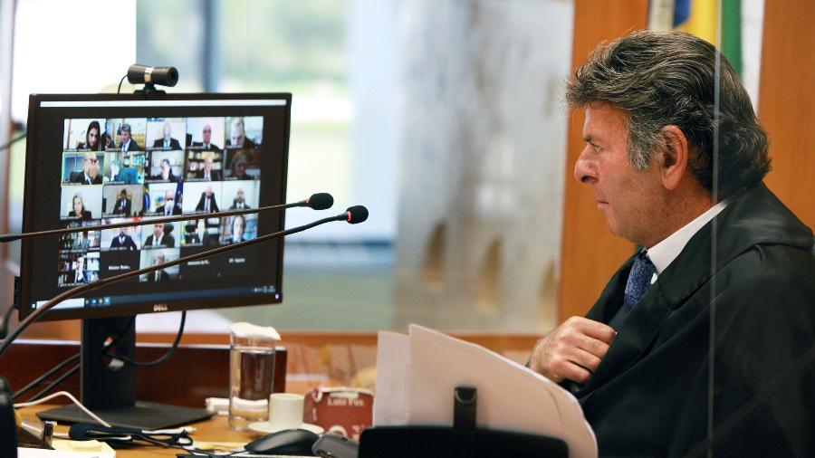 Luiz Fux, presidente do STF, durante sessão sobre liberação de cultos e missas na pandemia - Nelson Jr./STF
