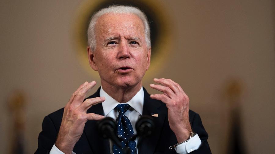 """Biden também falou em alcançar a marca 160 milhões de adultos """"totalmente vacinados"""" contra a covid-19 até a mesma data - Doug Mills/Pool/Getty Images via AFP"""