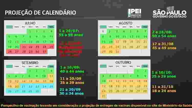 Calendário de vacinação em São Paulo: plano é vacinar toda a população adulta até 31 de outubro - Reprodução/Governo do Estado de São Paulo - Reprodução/Governo do Estado de São Paulo