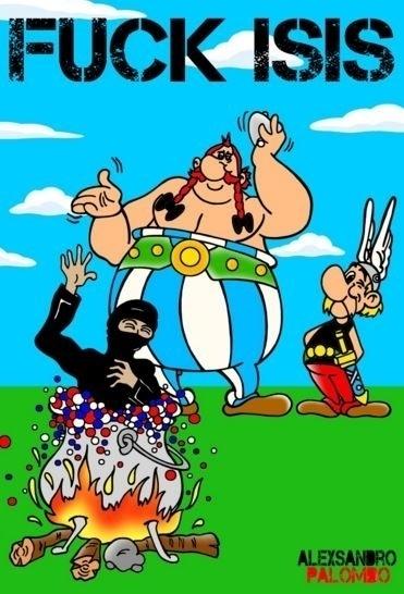 22.mar.2016 - O cartunista italiano Alexsandro Palombo usa os personagens franceses Asterix e Obelix para xingar o Estado Islâmico. O grupo terrorista assumiu a autoria dos atentados em Bruxelas na manhã desta terça-feira. Em novembro do ano passado, eles também foram responsáveis pelos ataques coordenados em Paris