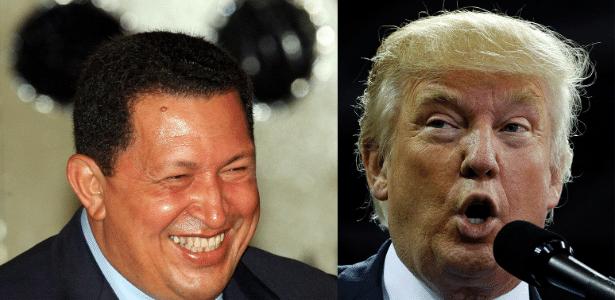 Hugo Chávez (esq.) durante entrevista na sede do governo pernambucano, em Recife (PE), em março de 2008; e Donald Trump durante campanha em Kenansville, na Carolina do Norte, em setembro de 2016