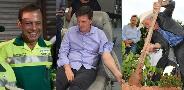 Agenda fora do gabinete: João Doria (PSDB) se vestiu de gari (à dir.); Marcelo Crivella (PRB) doou sangue; Ângelo Guerreiro (PSDB) plantou um jatobá (à esq.)
