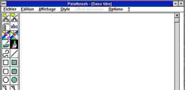 Tela do programa Paintbrush no Windows 3.11 - Reprodução