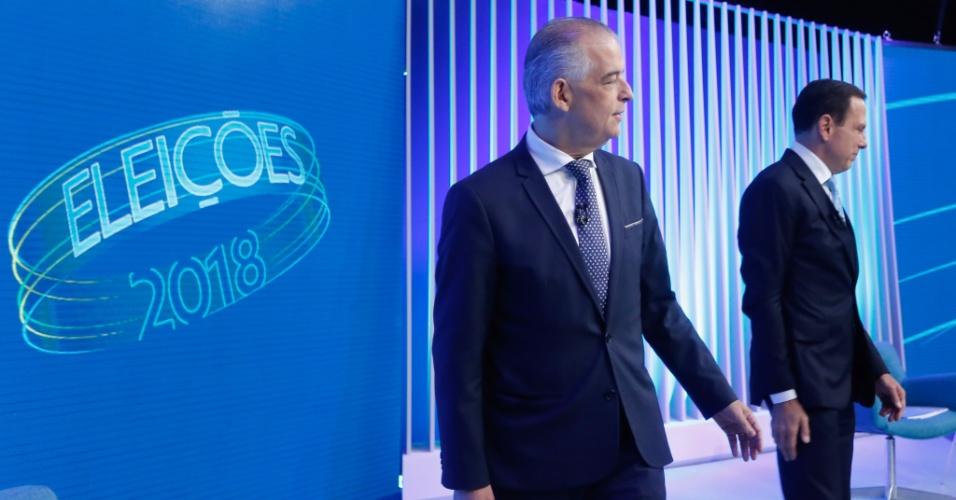 25.out.2018 - Os candidatos ao governo Marcio França e João Doria Jr. durante o debate promovido pela rede Globo, na sede da emissora na zona sul da capital paulista, na noite desta quinta-feira