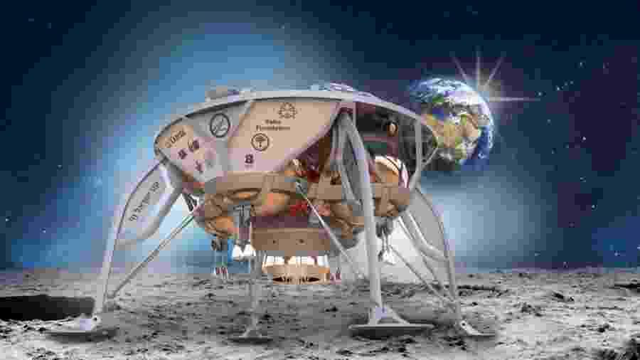 Imagem conceitual da sonda israelense Beresheet - SpaceIL