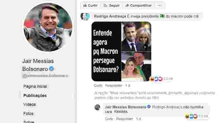 Seguidor comenta no perfil de Bolsonaro - Reprodução/Facebook - Reprodução/Facebook