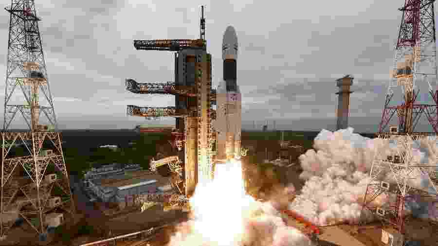 22.jul.2019 - Foguete da missão Chandrayaan-2 é lançado - Divulgação - 22.jul.2019/ISRO