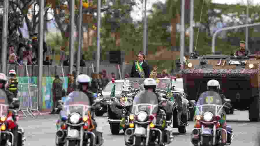 O presidente Jair Bolsonaro participa do desfile de 7 de setembro, na Esplanada dos Ministérios.  - Pedro Ladeira/Folhapress
