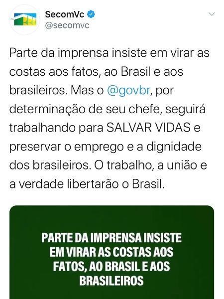 """10.mai.2020 - """"O trabalho liberta"""": Secom usa lema associado ao nazismo para divulgar ações contra a covid-19 - Reprodução/Twitter"""