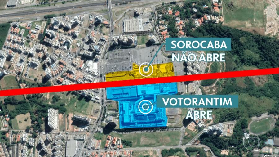 Shopping na divisa entre Sorocaba (SP) e Votorantim (SP) fica