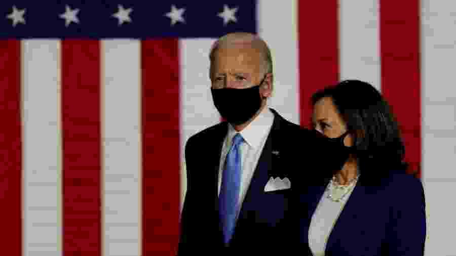 Candidato democrata à Presidência dos EUA, Joe Biden, e sua vice, Kamala Haris - CARLOS BARRIA