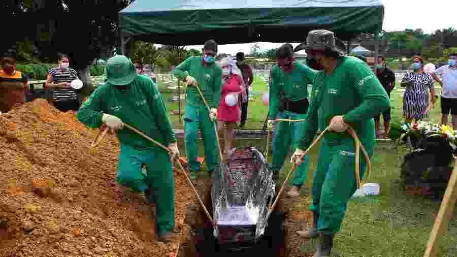 5.jan.2021 - Enterro em Manaus de vítima da covid-19 - Edmar Barros/Futura Press/Estadão Conteúdo