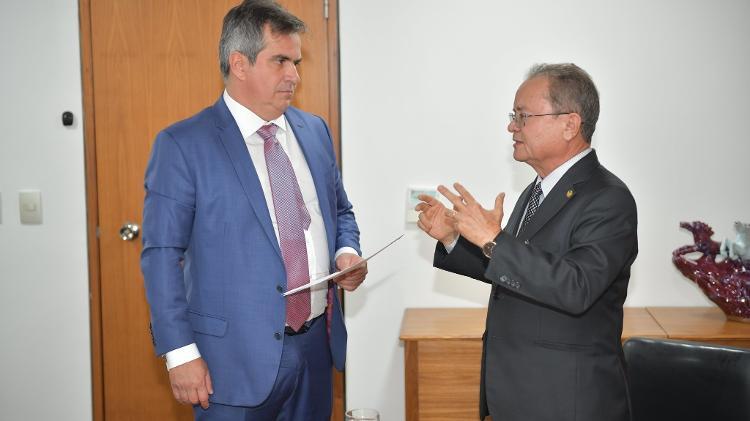 Senador Zequinha Marinho e o ministro da Casa Civil, Ciro Nogueira, em reunião sobre exportação de madeira - Divulgação/Zequinha Marinho - Divulgação/Zequinha Marinho