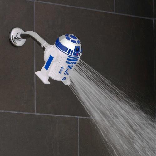 A empresa americana Oxygenics criou um chuveiro com a forma do robô R2-D2. Está à venda apenas nos Estados Unidos, na loja Bed, Bath & Beyond por US$ 24,99 (cerca de R$ 93)
