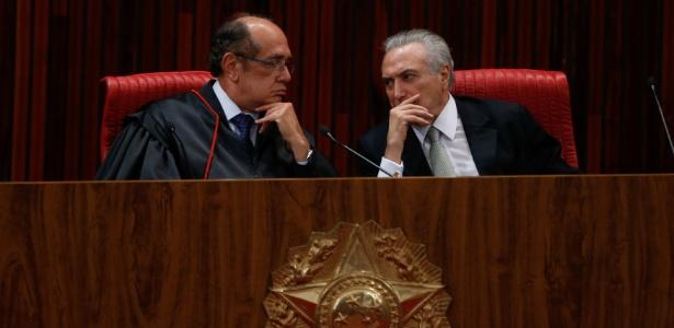 Temer (à dir.) foi condenado pelo TRE-SP; para Gilmar Mendes, não houve abuso