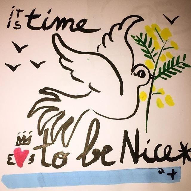 """15.jul.2016 - """"É tempo de ser bom"""", diz cartoon com mensagem otimista fazendo trocadilho com a palavra Nice, que em inglês tem significado positivo"""