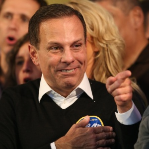 João Doria (PSDB) comemora a vitória no primeiro turno das eleições