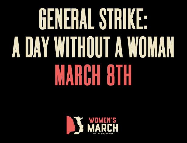 """Cartaz que promove o """"Dia sem uma Mulher"""", a ser realizado no próximo dia 8 março, nos EUA"""