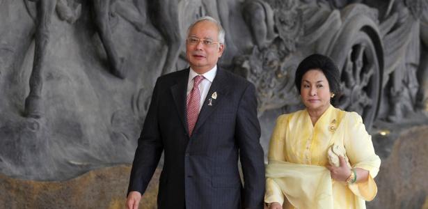 O primeiro-ministro da Malásia, Najib Razak, e sua mulher Rosmah Mansor, em Bali