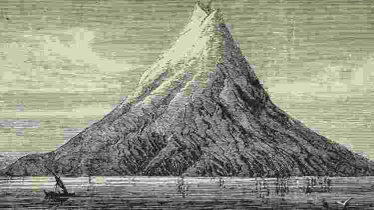 Ilustração do Krakatau antes da erupção de 1883 - Getty Images - Getty Images