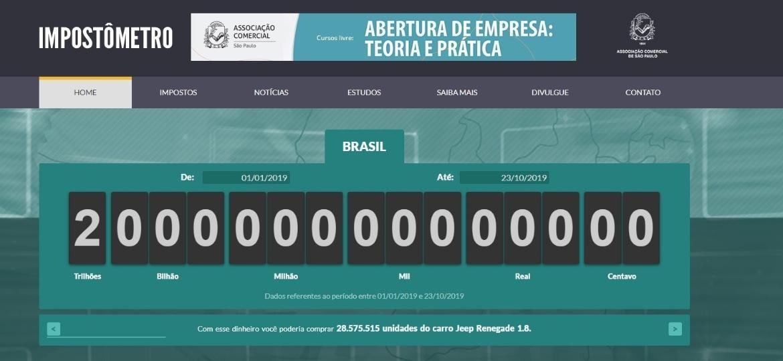 Imagem mostra impostômetro chegando a marca de R$ 2 trilhões em 2019  - Reprodução