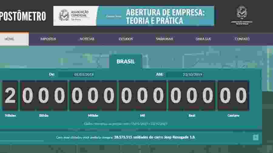 Impostômetro chega a R$ 2 trilhões em 2019  - Reprodução