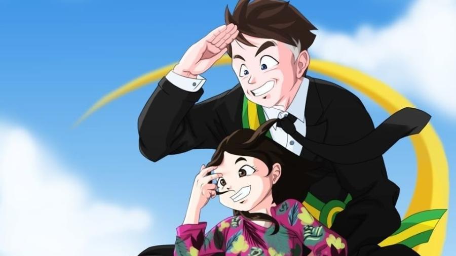 Resultado de imagem para Artista coloca Bolsonaro e a filha sentados em nuvem voadora de Dragon Ball