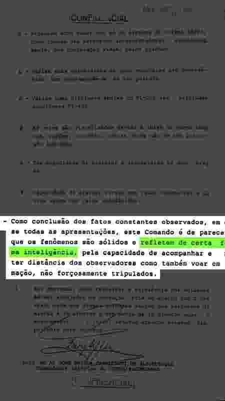 """Relatório de ocorrência datado de 2 de junho de 1986, poucos dias após a """"noite oficial dos óvnis"""", em 19 de maio de 1986. O documento é assinado pelo Brigadeiro-do-Ar José Pessoa Cavalcanti de Albuquerque - Arquivo Nacional - Arquivo Nacional"""