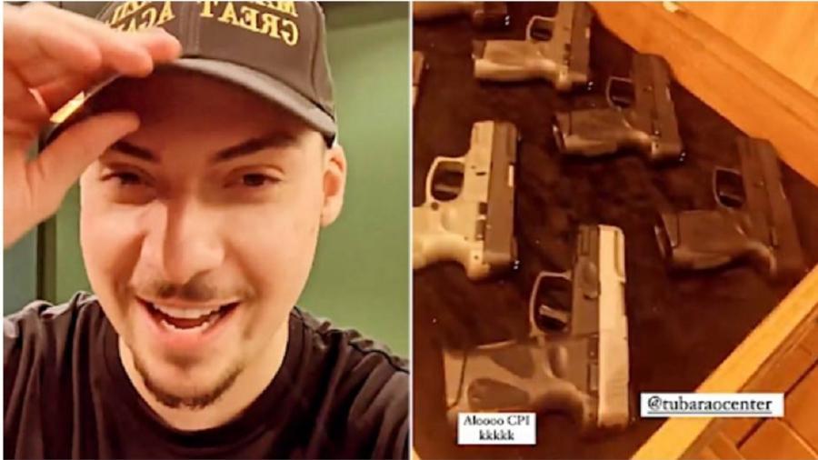 Jair Renan na loja de armas e a legenda que decidiu fazer em seu vídeo, É claro que isso caracteriza ameaça - Reprodução