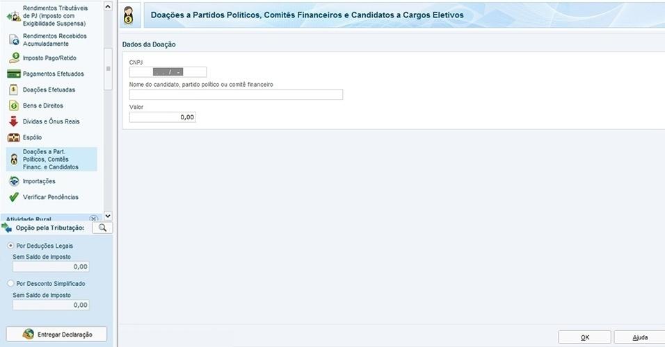 Informe os dados referentes aos partidos ou políticos para os quais fez doações